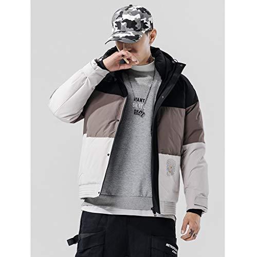 Stitching Color Heren Down Jacket Hoody Winter Puffer Jack, dikker Gidsen Korte Gewatteerde Duck Down-Gevulde Jassen (S-3XL) (Maat: XXL)