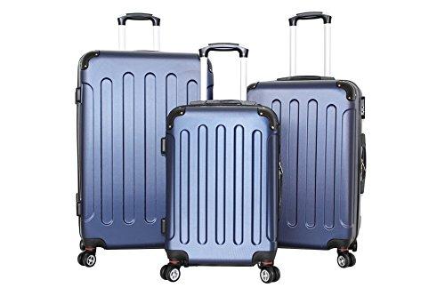 Set di tre Trolley Almatà 4 ruote gemellari con chiusura a combinazione e bagaglio a mano misure IATA (accettata da tutte le compagnie) Blu