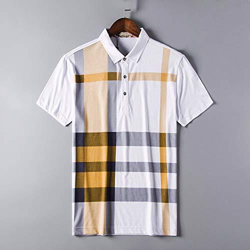 Herren Kurzarm Poloshirt,Golf Tennis Herren T-Shirt, Oberteil Für Männer, Herrenshirt Lässiger Klassiker Bequem Atmungsaktiv,Gelb Und Schwarz Gestreifte Plaid Shirt, XXL