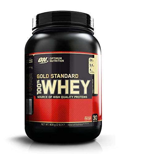 Optimum Nutrition ON Gold Standard 100% Whey Proteína en Polvo Suplementos Deportivos, Glutamina y Aminoacidos, BCAA, Helado de Vainilla, 29 porciones, 900g, Embalaje puede variar