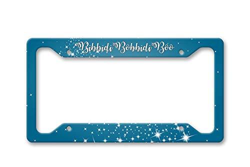 Fhdang Decor Bibbidi Bobbidi Boo Blue with Silver and White Star Magic,Disney Cinderella Fan Aluminum License Plate Frame Covers,License Tag Holder Auto Tag Car Accessories New Car Gift 6' X 12'
