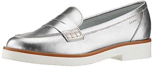 ESPRIT Damen Oska Loafer Slipper, Silber (Silver), 38 EU