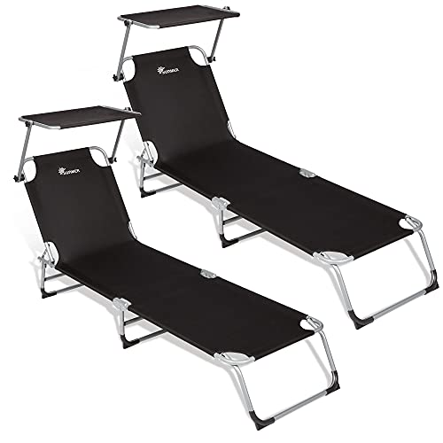 SUNMER Sun Loungers Recliners Set of 2, Garden Day Bed, Folding Outdoor Sun Beds Loungers Reclining With Adjustable Backrest And Sun Shade Roof Canopy - Black