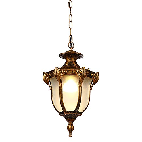 Retro Aussen-Leuchte Hängeleuchte Aussen Wasserdichter IP44 Design aus Aluminium Glas Deckenlampe Rustikal Pendelleuchte Höhenverstellbar E27 Fassung Hängelampe Bronze (Bronze)