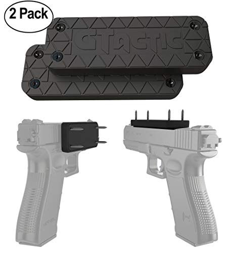 GTactic 2 Pack Magnetic Mount with Adhesive | Rubber Coated 45 Lbs Rated Magnet Mount & Holster | Concealed Holder for Firearms, On Vehicle, Wall, Desk, Bedside