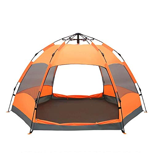 Barir Outdoor Family Camping Tent with Carry Bag - Windproof, Waterproof and UV-proof Beach Tent 6-9 Person,Orange