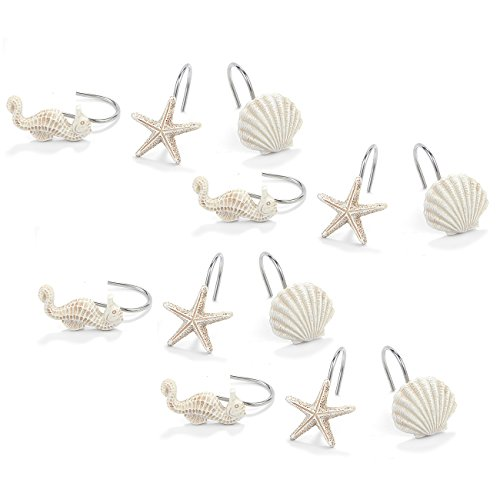 Ocean Shower Curtain Hooks, Seahorse, Starfish, and Seashell (12 Pieces)