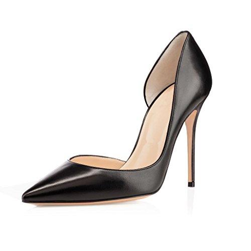EDEFS Damen Stilettos High Heels Übergröße d'Orsay Damenschuhe Klassische Pumps Mattschwarz Größe EU35