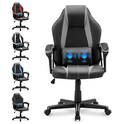 Yaksha PC Gaming Chair Massage Home Office Chair Ergonomic Computer Chair Gamer Chair with Lumbar Support Armrests Headrest Racing Chair for Teens Adults Men Women(Flash Gray)