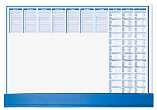 SIGEL 82555 Papier-Schreibunterlage mit Schutzleiste, 3-Jahres-Kalender 2019 - 2021, ca. DIN A2 - extra groß , blau, 50 Blatt (!)