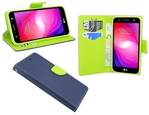 cofi1453 Elegante Buch-Tasche Hülle kompatibel mit LG X Power 2 (M320N) in Blau-Grün (2-Farbig) Leder Optik Wallet Book-Style Cover Schale
