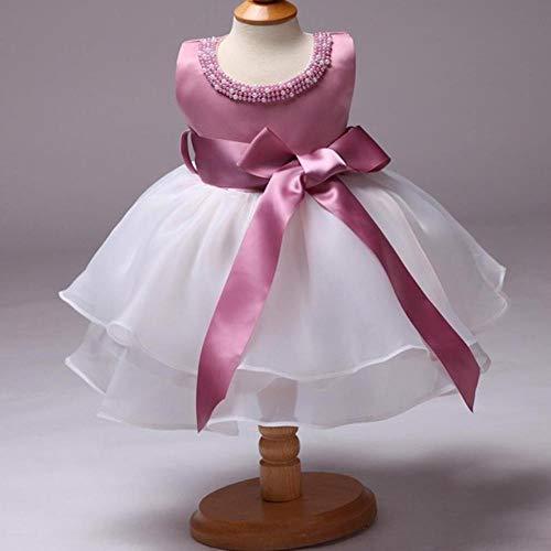 Huien mooi meisje roze kant tule bloemenmeisje jurk grote riem decor prinses parel baljurk partij trouwjurk, roze, 18m
