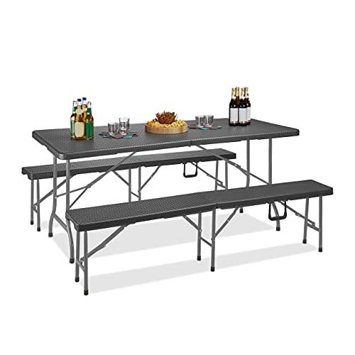 Relaxdays Bierzeltgarnitur, klappbarer Campingtisch, 2 Bierbänke, Kunststoff, Rattan-Optik, 73,5 x 178,5 x 74 cm, grau
