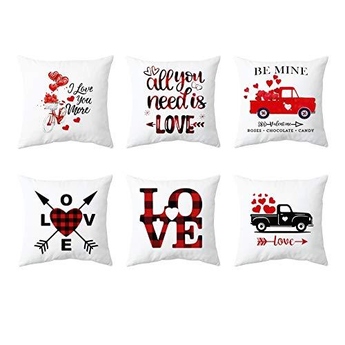 Paquete de 6 fundas de almohada para el día de San Valentín,funda de cojín de lino de algodón con corazón de amor,funda de almohada para el sofá del hogar,sala de estar,dormitorio,decoración de boda