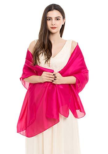 REEMONDE Damen-Schal, luxuriös, weich, Satin, lang, Chiffon, Brautschmuck, Pashmina, für Abendpartys -  Pink -  Einheitsgröße