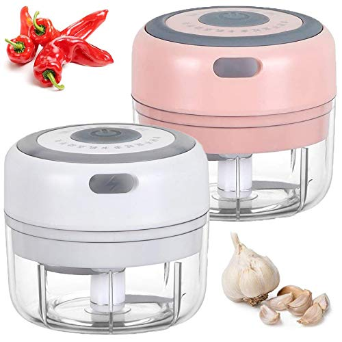 Mini elektrische Knoblauchpresse, leistungsstarke kabellose elektrische Knoblauch Fleischwolf Mixer Mixer zum Hacken von Obst Gemüse Knoblauch Zwiebel für Küchenzubehör (Weiß + Pink)