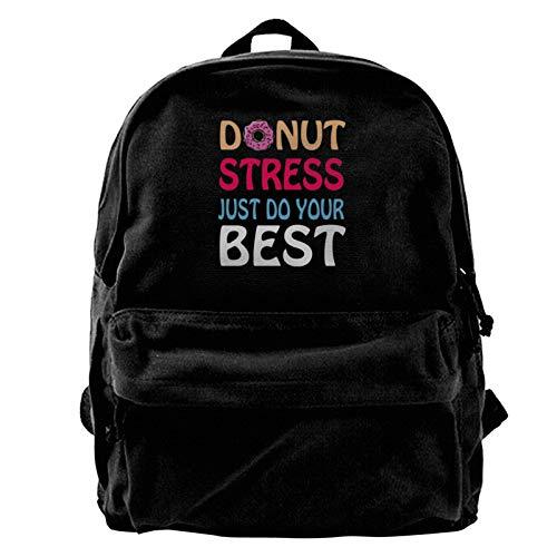 Donut Stress Just Do Your Best Teacher Testing Days Men Women Boy Girls Backpack Bag Cotton Running Adjustable Strap Hip Bum