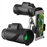 Gspose Telescopio monocular de alta definición, 40 x 60 mm, con adaptador impermeable para smartphone, trípode para observación de aves, caza, senderismo, turismo, concierto, juego de pelota