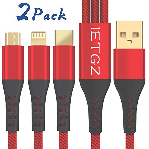 Red IETGZ 2 PACK Multi USB Charger Cable 3 in 1 Multiple 3 FT Nylon Braided Universal USB Charging Cord for Car Hotel Travel Home with 8 Pin Plug USB Type C Micro USB for Cell Phones Tablets and More