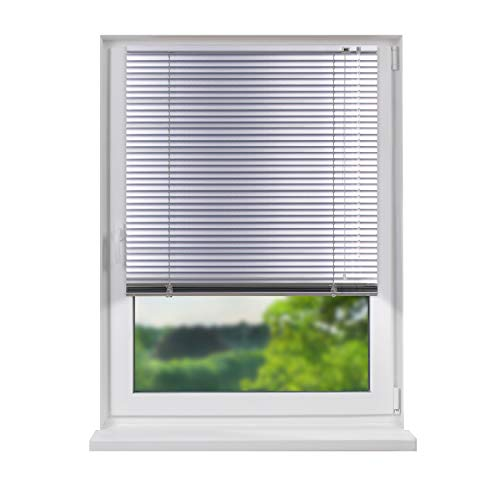 Fensterdecor Aluminium Jalousie, hochwertige Alu-Jalousie in Silber mit Zugschnur und Drehstab, Jalousette mit Lamellen für den Innen-Bereich, zum Verschrauben und Bohren, 130 x 150 cm