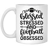Tazza da caffè con scritta 'Beato Stressed and Football Obsessed - Tazza da caffè per amanti del calcio, papà, mamma, fratello, sorella, nonna o nonno M440, 311,8 g