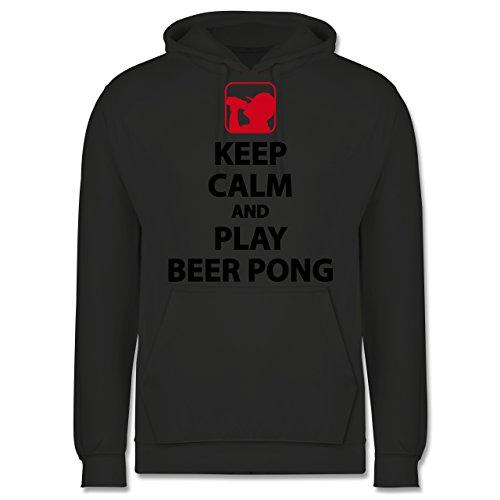 Festival - Keep Calm and Play Beer Pong - XL - Anthrazit - Pegel - JH001 - Herren Hoodie und Kapuzenpullover für Männer