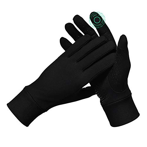 J JINPEI Laufhandschuhe Touchscreen Sporthandschuhe Rutschfeste atmungsaktive Fahrradhandschuhe leicht gefütterte Handschuhe Geeignet für Outdoor Radfahren Laufen Schwarz - Größe XL