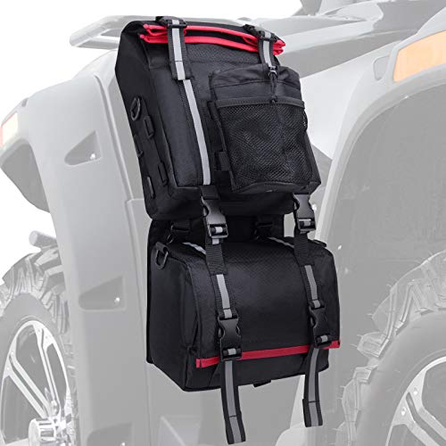 kemimoto ATV Fender Bag, Rear Storage Bags With Water Holder Compatible with Sportsman Scrambler FourTrax Grizzly Snowmobile