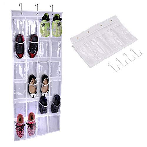 Organizador de zapatos con 24 bolsillos para colgar en el armario, bolsa de almacenamiento, plegable y universal, transparente (163 cm de alto x 48 cm de ancho