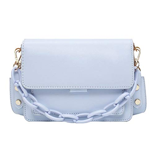 Mdsfe Chain Design New Mini PU Leather Flap Bags For Women 2020 Summer Lady Shoulder Messenger Handbags Female Fashion Cross Body Bag - Light Blue,a1