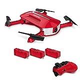 GoolRC Drone con cámara, T37 Mini 2.4G 6 Axis Gyro WiFi FPV 720P Cámara HD Quadcopter, Sensor de Gravedad de Control Remoto, Plegable RC Selfie Pocket Drone con Dos baterías adicionales