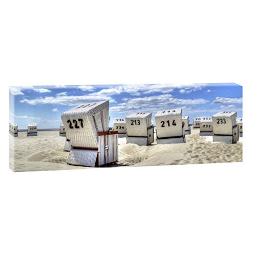Querfarben Bild auf Leinwand mit Landschaftsmotiv Strandkörbe in SPO | 100 x 65 cm, SW, Wandbild, Leinwandbild mit Kunstdruck, Nordseebild mit Strandmotiv auf Holzrahmen gespannt, 65x100 cm
