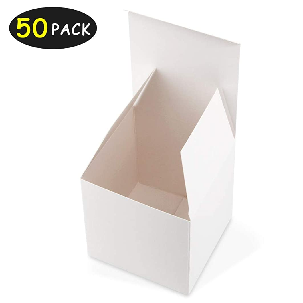 HAISEN White Gift Boxes 4x4 x4 inches 50Pack Paper Gift Boxes with Lids for Gifts, Crafting, Cupcake Boxes