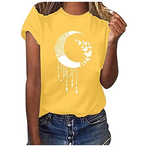 Bilbull Blusa suelta para mujer, informal, con letras impresas, manga corta, cuello redondo, para el Día de la Madre amarillo S