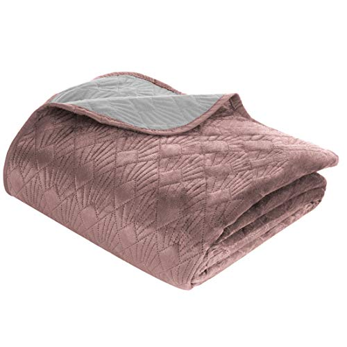 Eurofirany Bedsprei, fluweel poeder, zilver, sprei, gewatteerde deken, sprei, quilt, elegant, edele glamour, slaapkamer, woonkamer, lounge, 200 x 220 cm