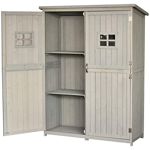 Outsunny Wooden Garden Shed Tool Storage Cabinet Organizer Outdoor Double Door Shelf 127.5L x 50W x 164H cm Grey