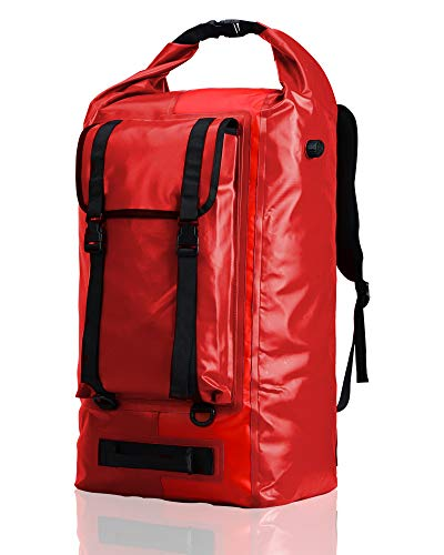 MIER Extra Large Waterproof Backpack Gear for Men Women, Roll Top Dry Bags Rucksack Water Sports Accessories Pack for Kayaking Hiking Fishing Camping Boating Rafting Travel Outdoor, 40L,Red
