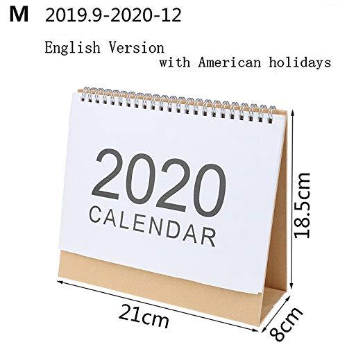 JIUYUE Kalendarz na 2020 biurko kalendarz ścienny na 2019 rok planer miesięczny dzienny harmonogram kawaii artykuły szkolne (kolor: M)
