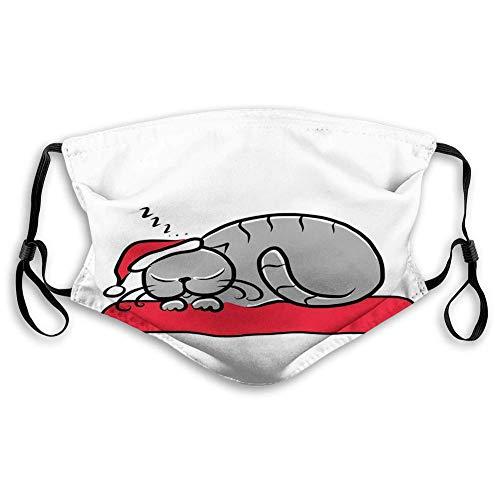 Máscara de carbón activado a prueba de viento, gato con sombrero de Santa Claus bigotes en la almohada de invierno noche dibujos animados, decoraciones faciales para adultos (M)