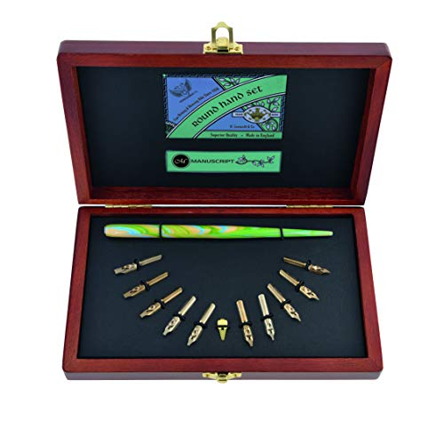 MANUSCRIPT Victoriana Writing & Sealing Set – 6 stuks penhouder, houten penhouder, mini seal, afdichting was, fles inkt, houten doos – de ideale introductie tot kalligrafie en wax sealing!