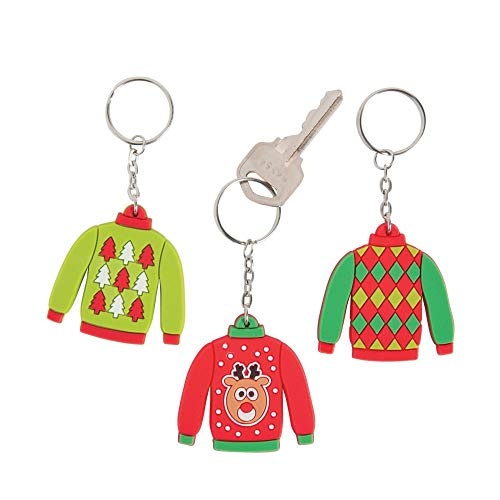 Rubber Ugly Christmas Sweater Key Chains - 12 ct