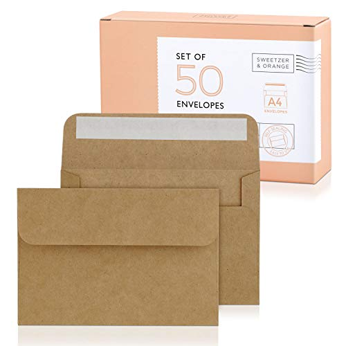 Sweetzer & Orange, A4 Brown Envelopes Self Seal. 50x Envelope and Box. Mailing Envelopes 4x6 (4.25 x 6.25 in.) Kraft 150gsm Self Sealing Envelopes, Blank 4x6 Envelopes for Invitations and Wedding