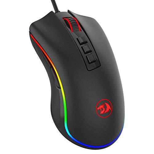 Redragon M711 Souris de jeu Cobra avec rétro-éclairage de 16,8 millions de couleurs RVB, réglage de 10 000 ppp, prise confortable, 7 boutons programmables