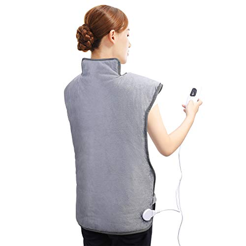 Almohadilla Elèctrica de Calefacción para aliviar el dolor de espalda y hombros, Almohadillas eléctricas con 6 niveles de calentamiento y 2 horas de apagado automático