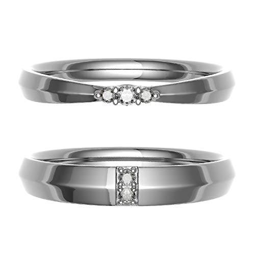 [ココカル]cococaru ペアリング 結婚指輪 シルバー 2本セット マリッジリング ダイヤモンド 日本製(レディースサイズ6号 メンズサイズ8号)