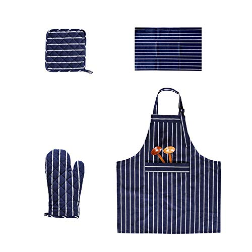 Simple Cotton and Linen Apron Set of 4, Including Insulation Mats, Placemats, Gloves, Aprons, Cotton and Linen, Suitable for Men and Women, The Best Gift Set