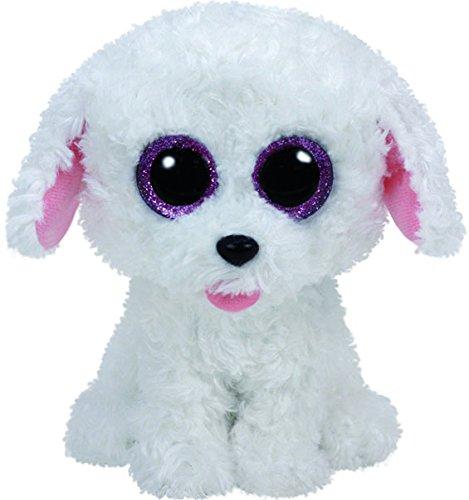 Carletto Ty 37175 - Pippie mit Glitzeraugen, Glubschi's, Beanie Boo's Hund, 15 cm, weiß