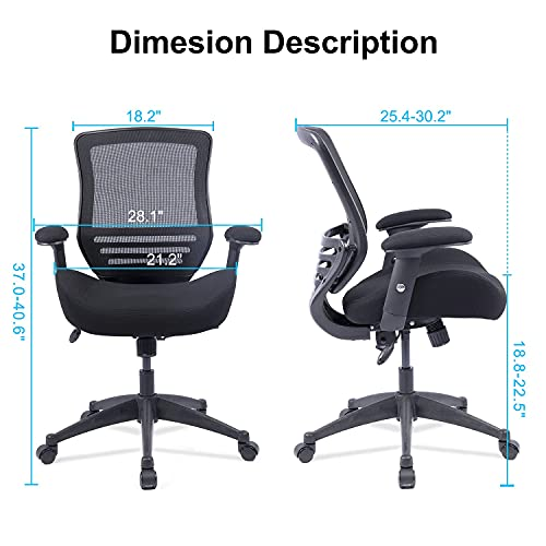 BOLISS Ergonomic Office Computer Desk Chair Height Adjusting Arm Waist Support Function,400 lbs Capacity - Black