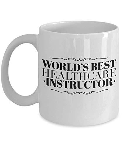 Dozili Grappige koffiemok - Healthcare Instructor Gifts - World's Best koffiemok, nieuw bedankt, cadeau-ideeën voor Kerstmis of verjaardag, 325 ml, wit