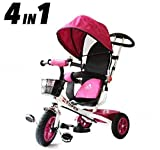 All Road Trikes Niños 4 en 1 Trike - Blanco y Rosa - Empujar Pedal Infantil Triciclo Homologación CE
